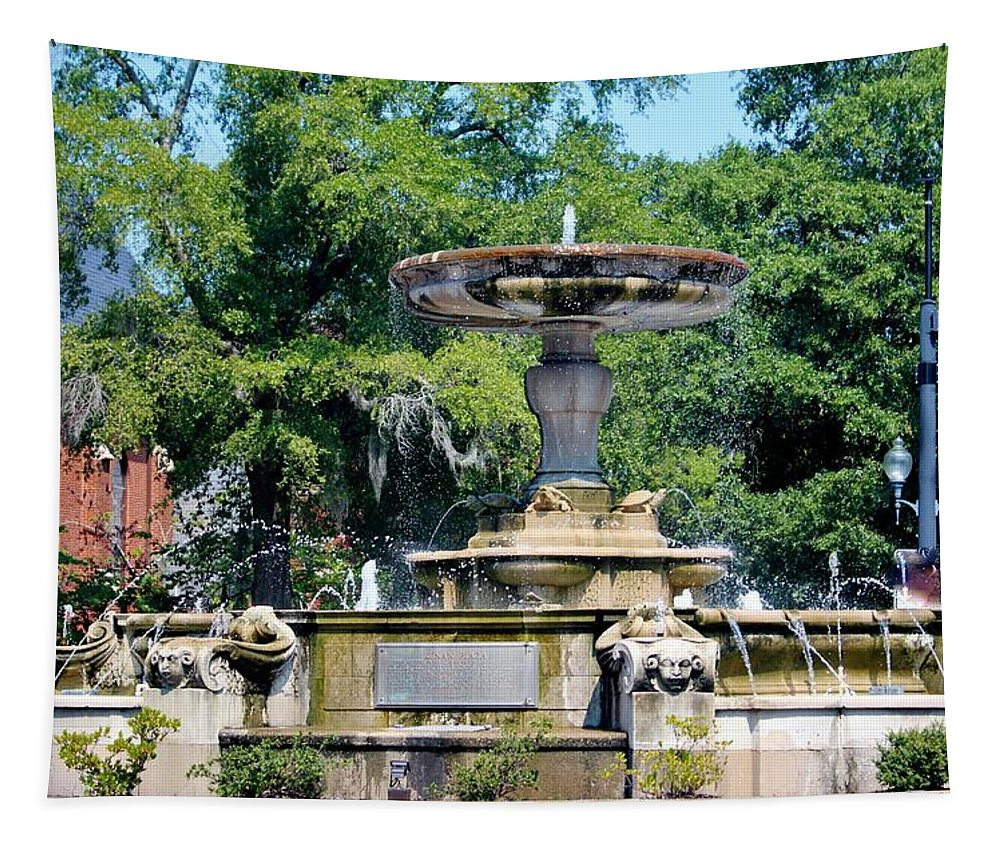 Kenan Memorial Fountain Tapestry featuring the photograph Kenan Memorial Fountain by Cynthia Guinn