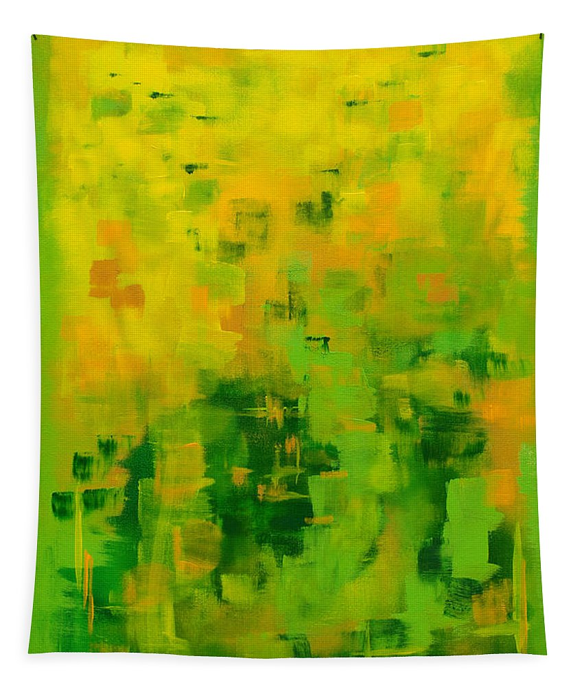 Yellow Tapestry featuring the painting Kenny's Room by Holly Carmichael