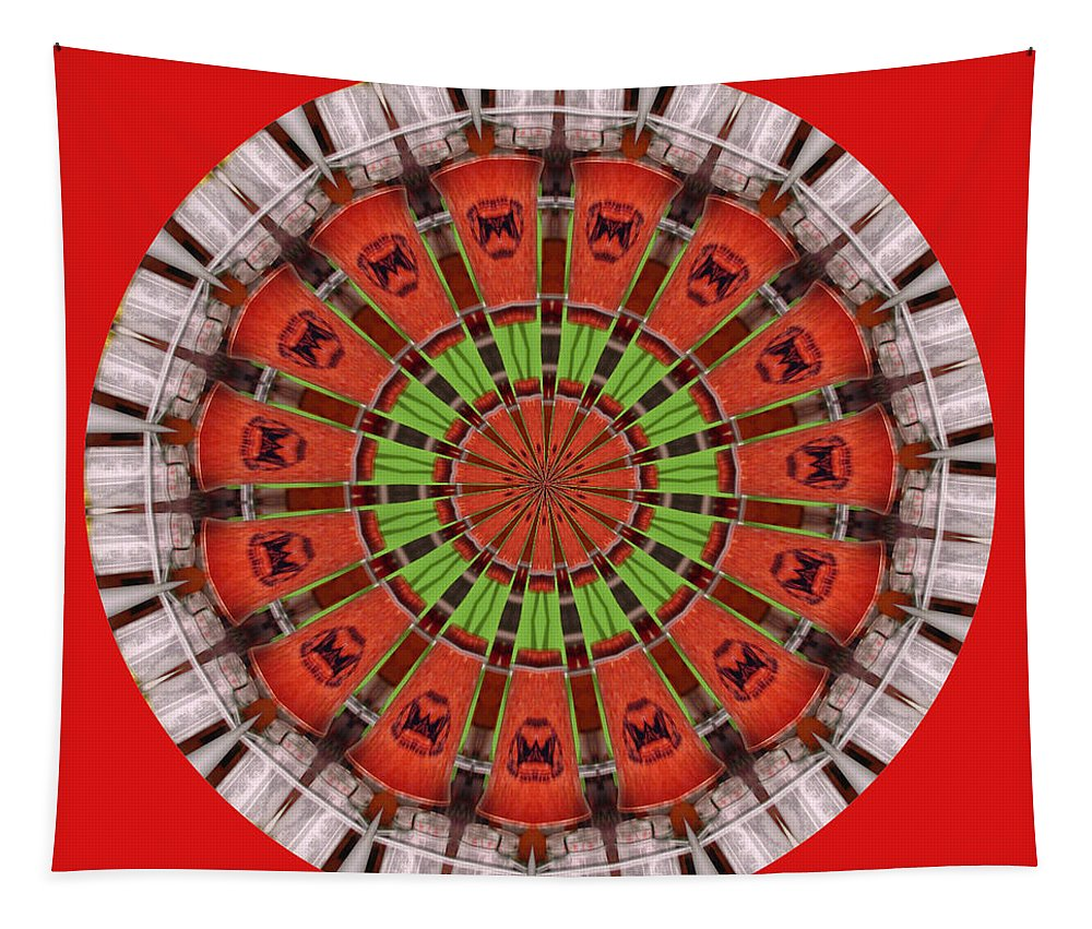 Abstract Art Tapestry featuring the digital art Kentucky Derby Glasses Kaleidoscope 3 by Marian Bell