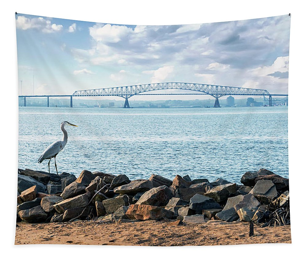 2d Tapestry featuring the photograph Key Bridge From Ft Smallwood Pk by Brian Wallace