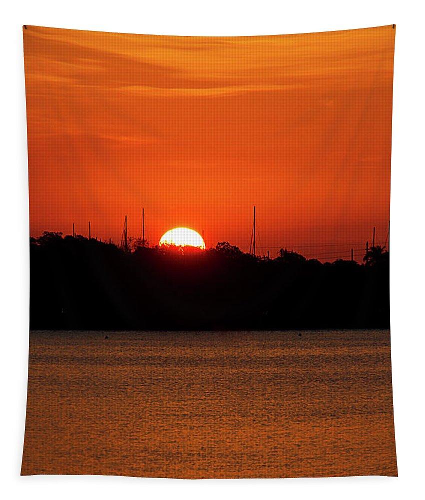 Orange Tapestry featuring the photograph Key West Sunrise 34 by Bob Slitzan