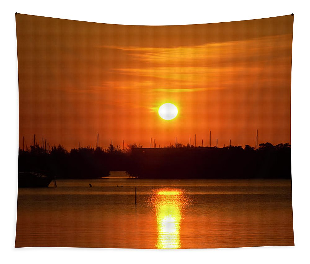 Orange Tapestry featuring the photograph Key West Sunrise 36 by Bob Slitzan