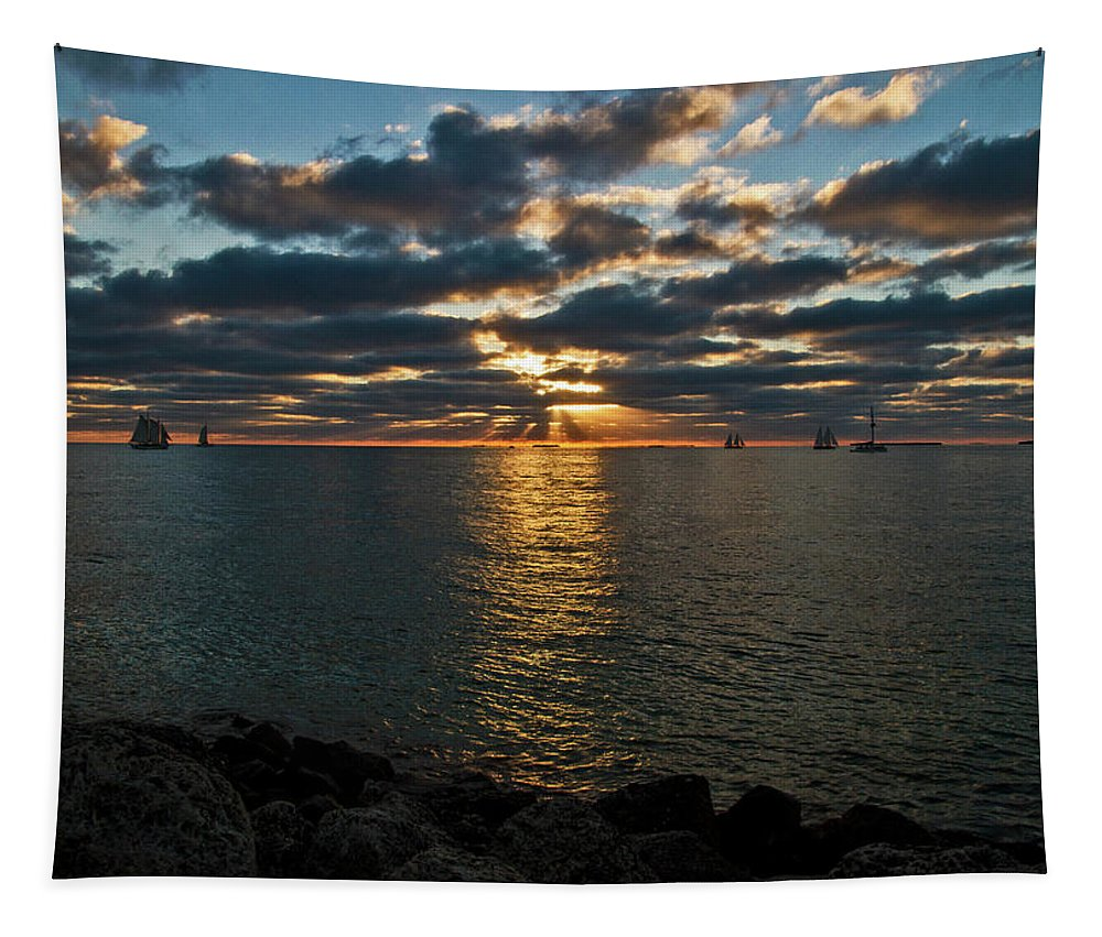 Sunset Tapestry featuring the photograph Key West Sunset 10 by Bob Slitzan