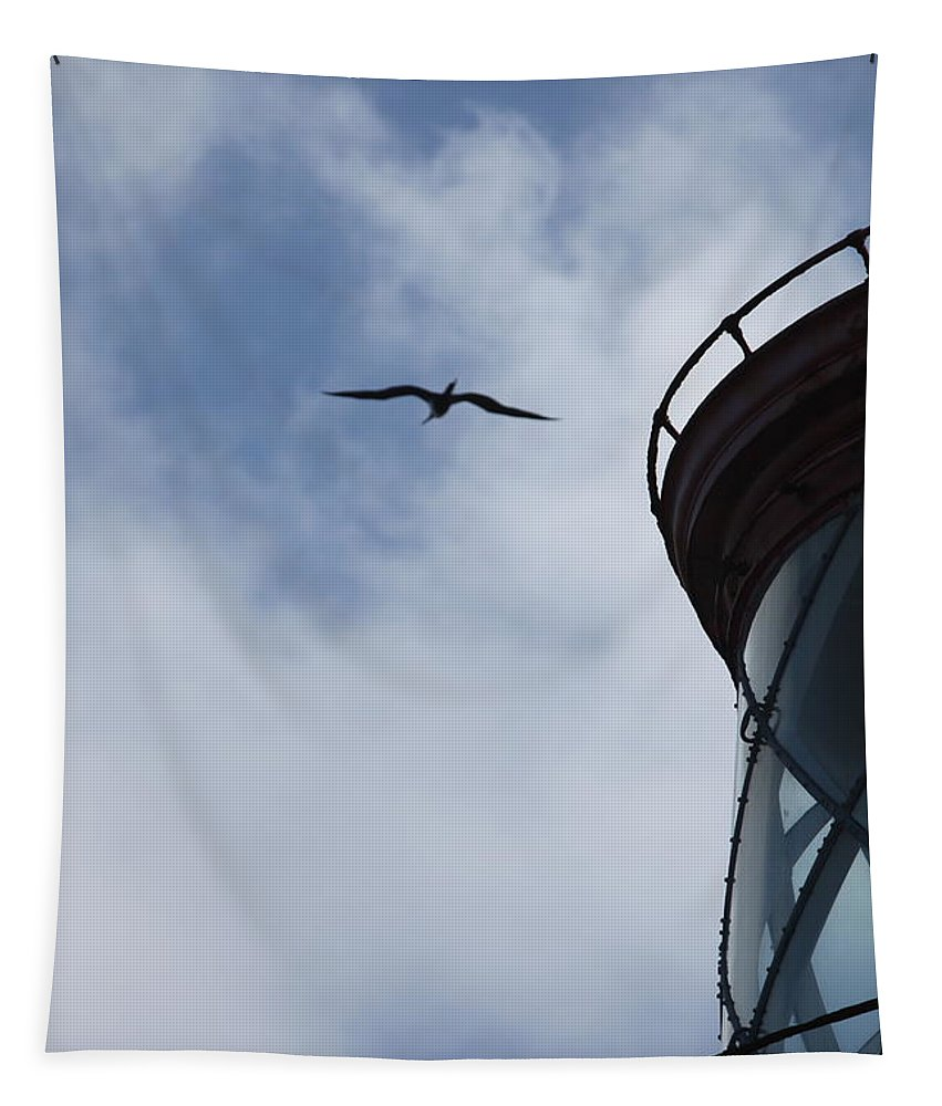 Kilauea Tapestry featuring the photograph Kilauea Lighthouse and Bird by Nadine Rippelmeyer