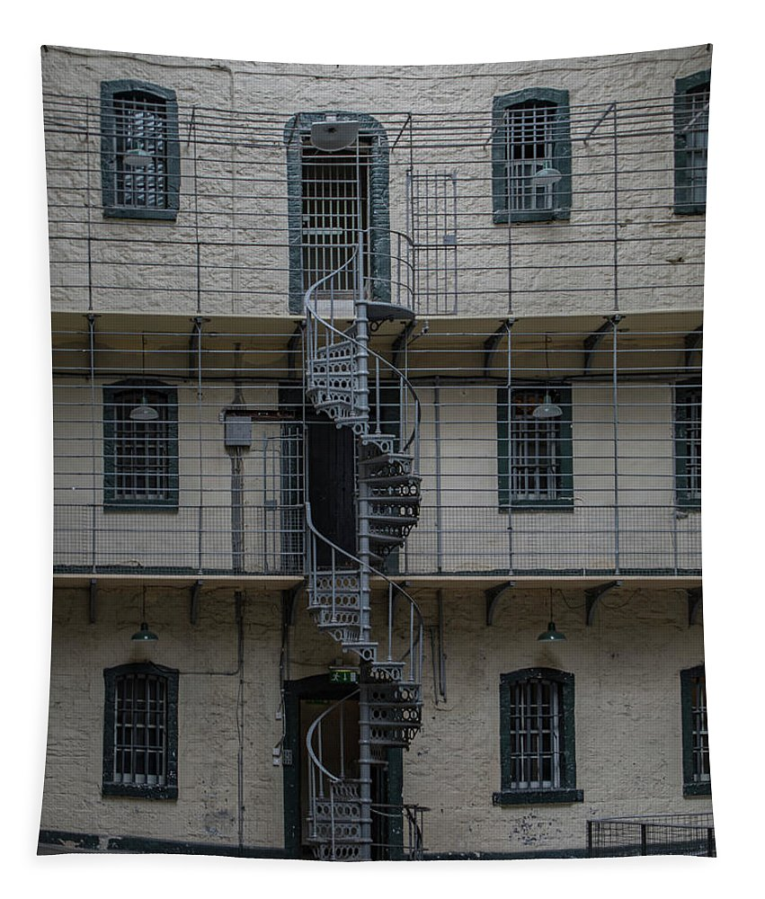 Antique Tapestry featuring the photograph Kilmainham Gaol Spiral Stairs by Teresa Wilson