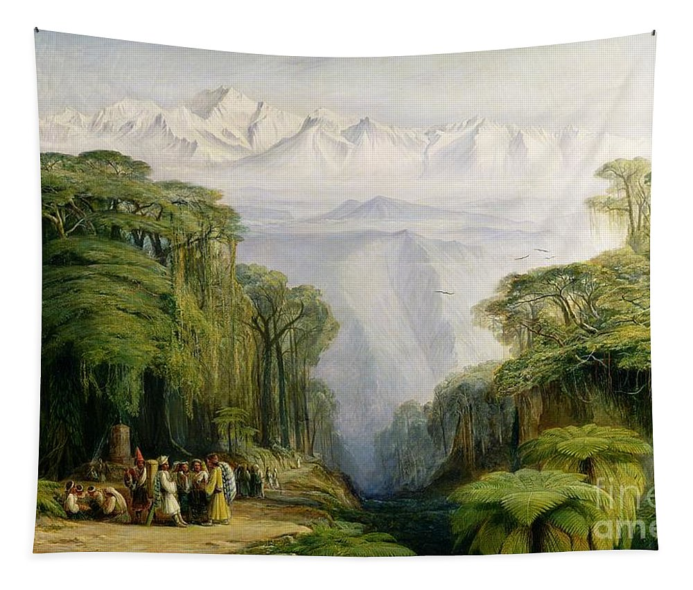 Kinchinjunga Tapestry featuring the painting Kinchinjunga From Darjeeling by Edward Lear