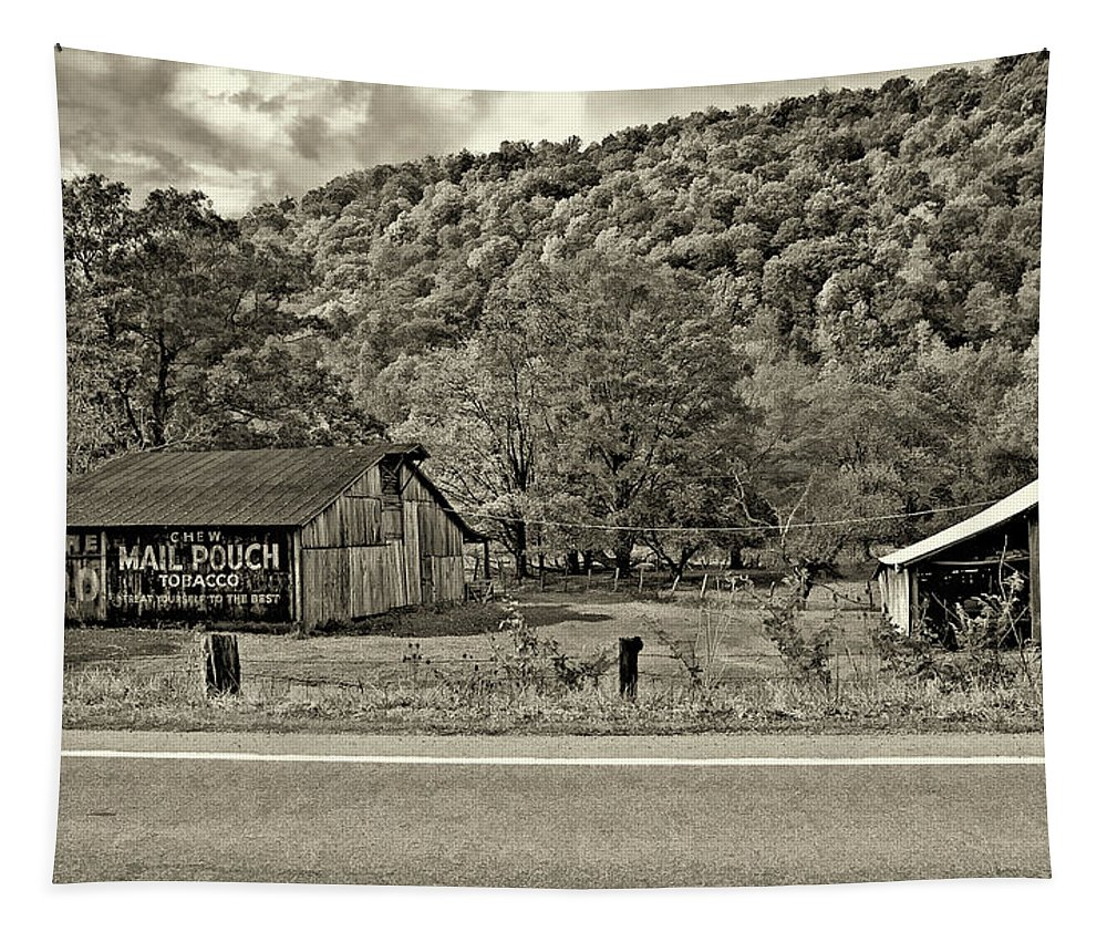 West Virginia Tapestry featuring the photograph Kindred Barns Sepia by Steve Harrington