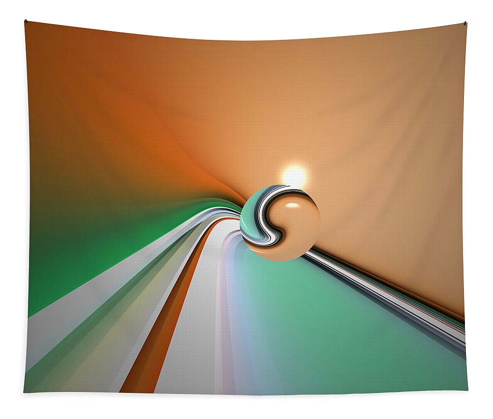 Abstract Tapestry featuring the digital art Kinfluxing by Andrew Kotlinski