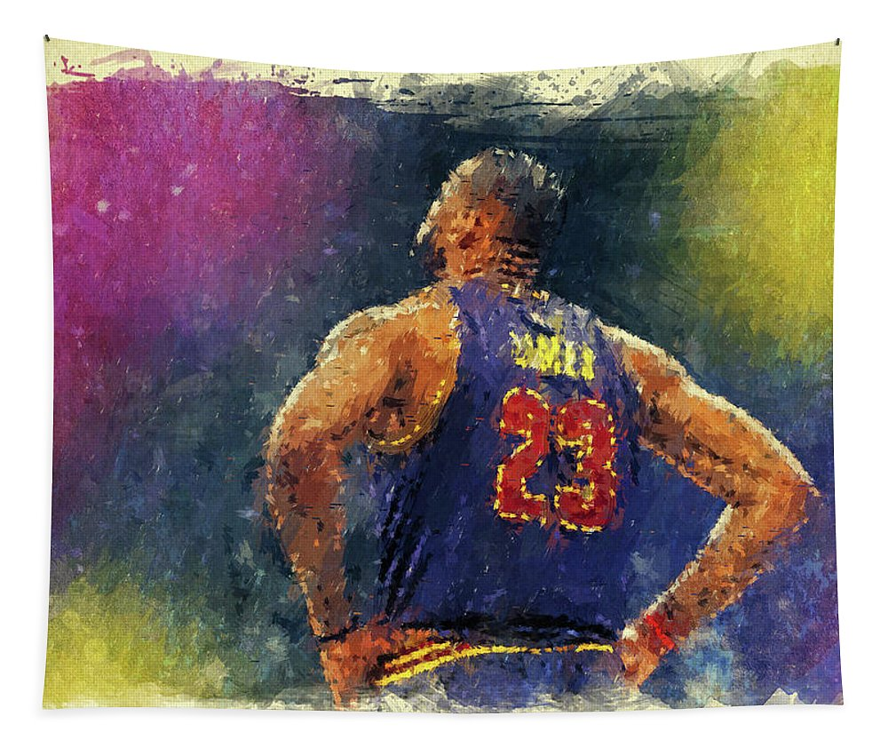 Lebron James Tapestry featuring the digital art King James by Ricky Barnard
