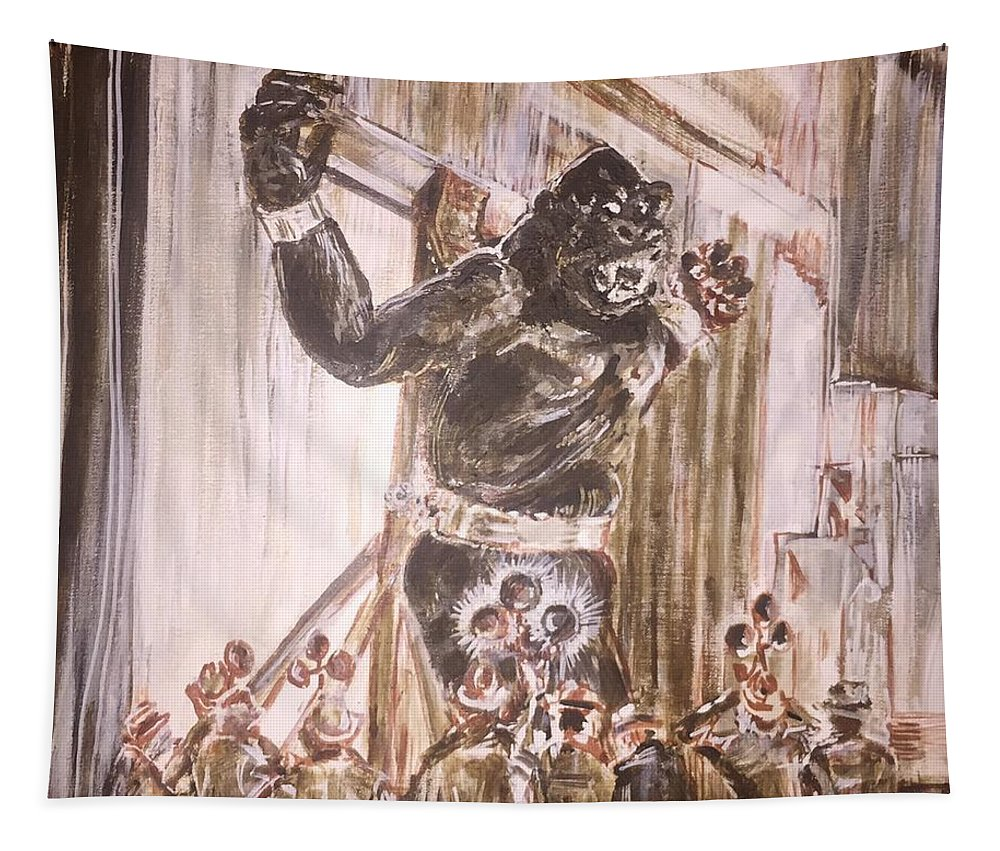 King Kong 1933 Bruce Cabot Robert Armstrong Fay Wray Creature Features Rko Radio Pictures Silver Screen Tapestry featuring the painting King Kong - Flashbulbs Anger Kong by Jonathan Morrill