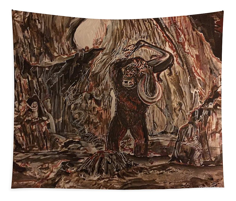 King Kong 1933 Bruce Cabot Robert Armstrong Fay Wray Creature Features Rko Radio Pictures Silver Screen Tapestry featuring the painting King Kong - Kong Battles A Serpentine Dinosaur by Jonathan Morrill