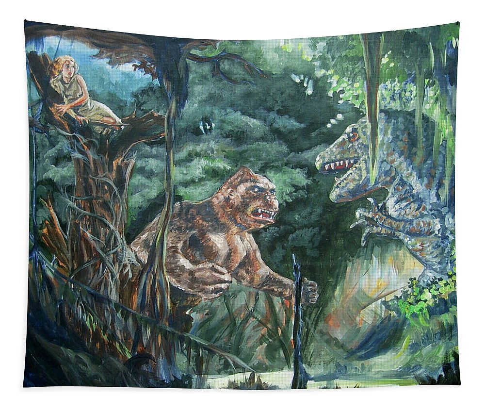 King Kong Tapestry featuring the painting King Kong vs T-Rex by Bryan Bustard