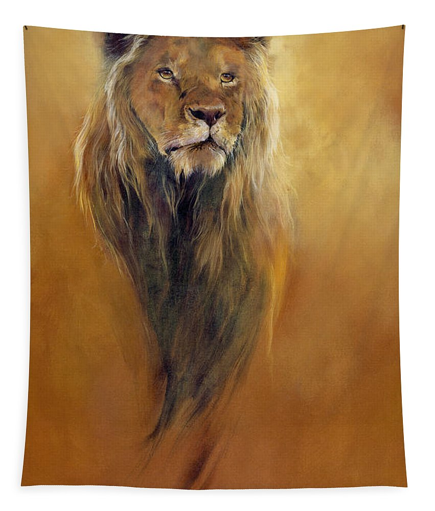 Animal; Furry; Lion; Wild Animal; Predator: King: Leo Tapestry featuring the painting King Leo by Odile Kidd