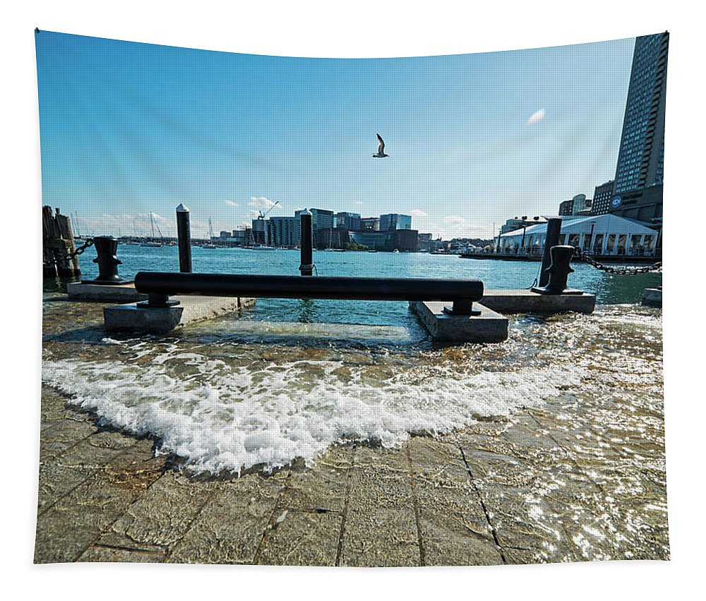 King Tapestry featuring the photograph King Tide On The Boston Waterfront Boston Ma by Toby McGuire