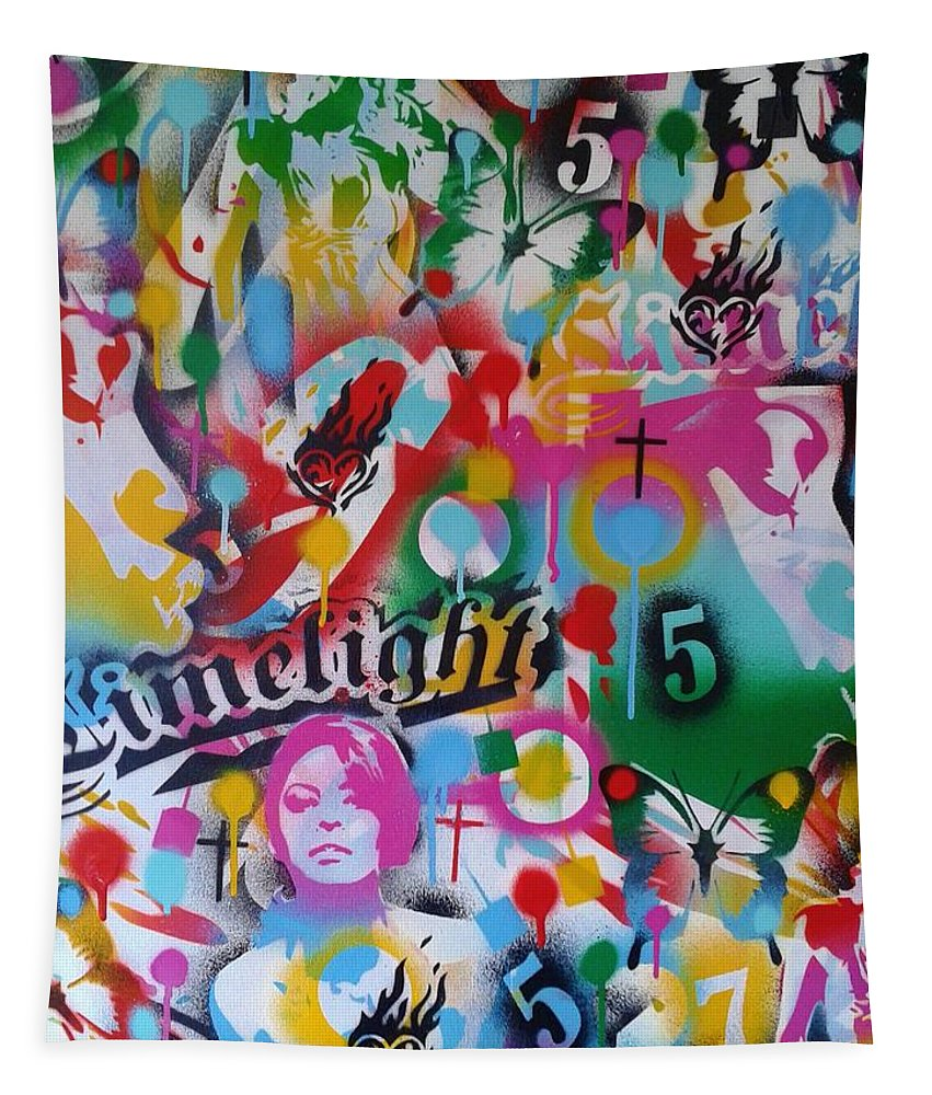 Stencil Painting On Large 30 By 30 Inch Canvas Tapestry featuring the painting Kiss The Rainbow by Leon Keay