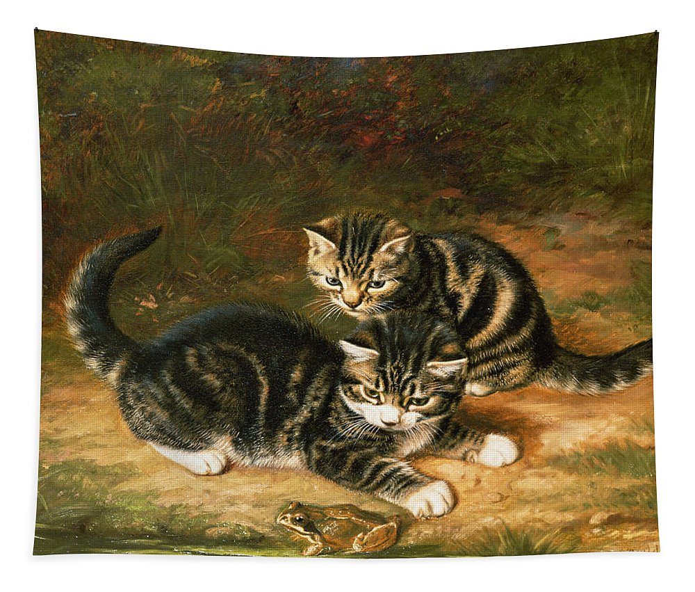 Kittens Tapestry featuring the painting Kittens  by Horatio Henry Couldery