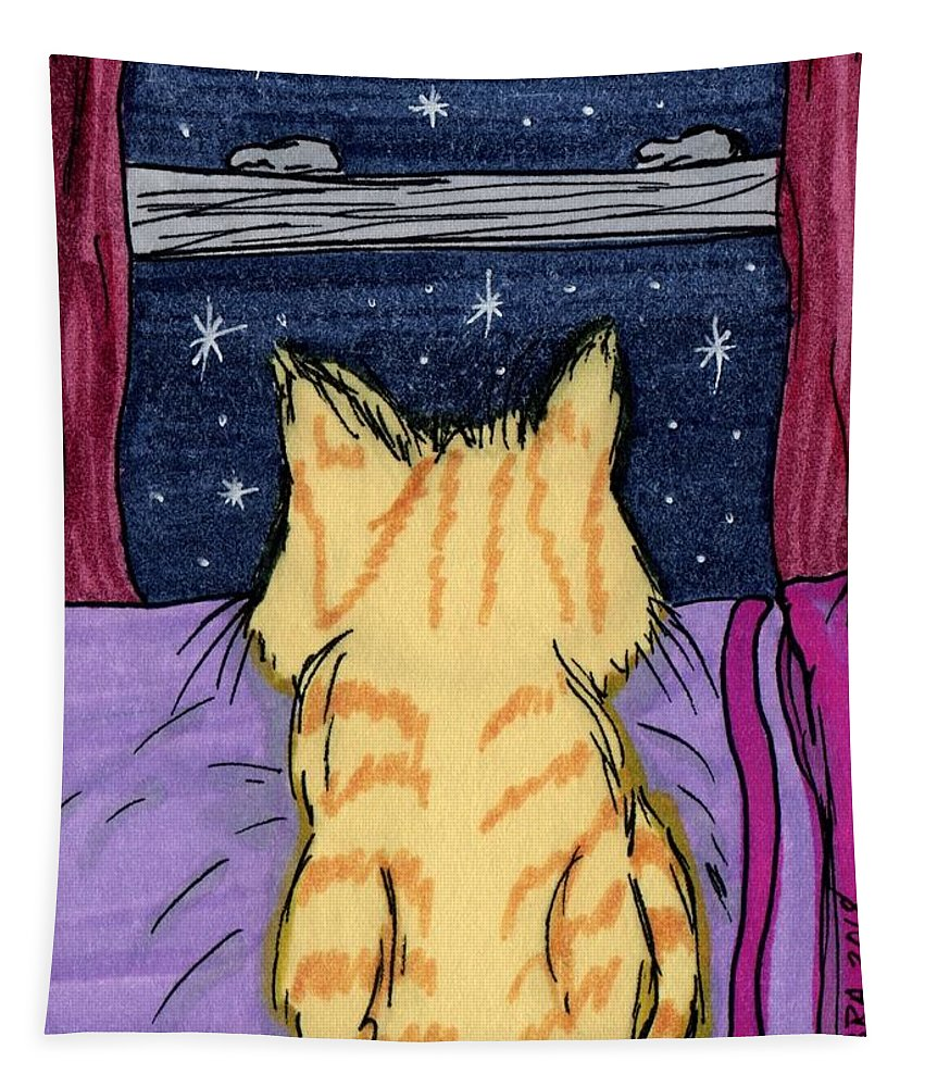 Night Tapestry featuring the painting Kitty Loaf by Tambra Wilcox