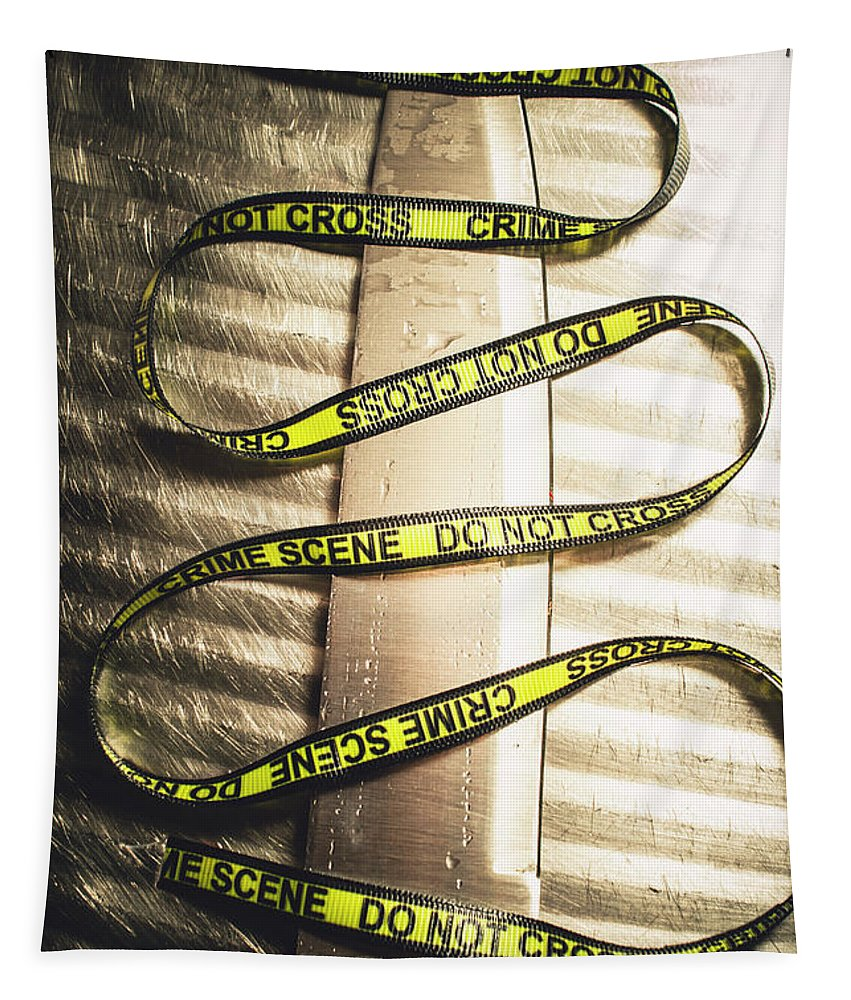 Forensic Tapestry featuring the photograph Knife With Crime Scene Ribbon On Metal Surface by Jorgo Photography - Wall Art Gallery