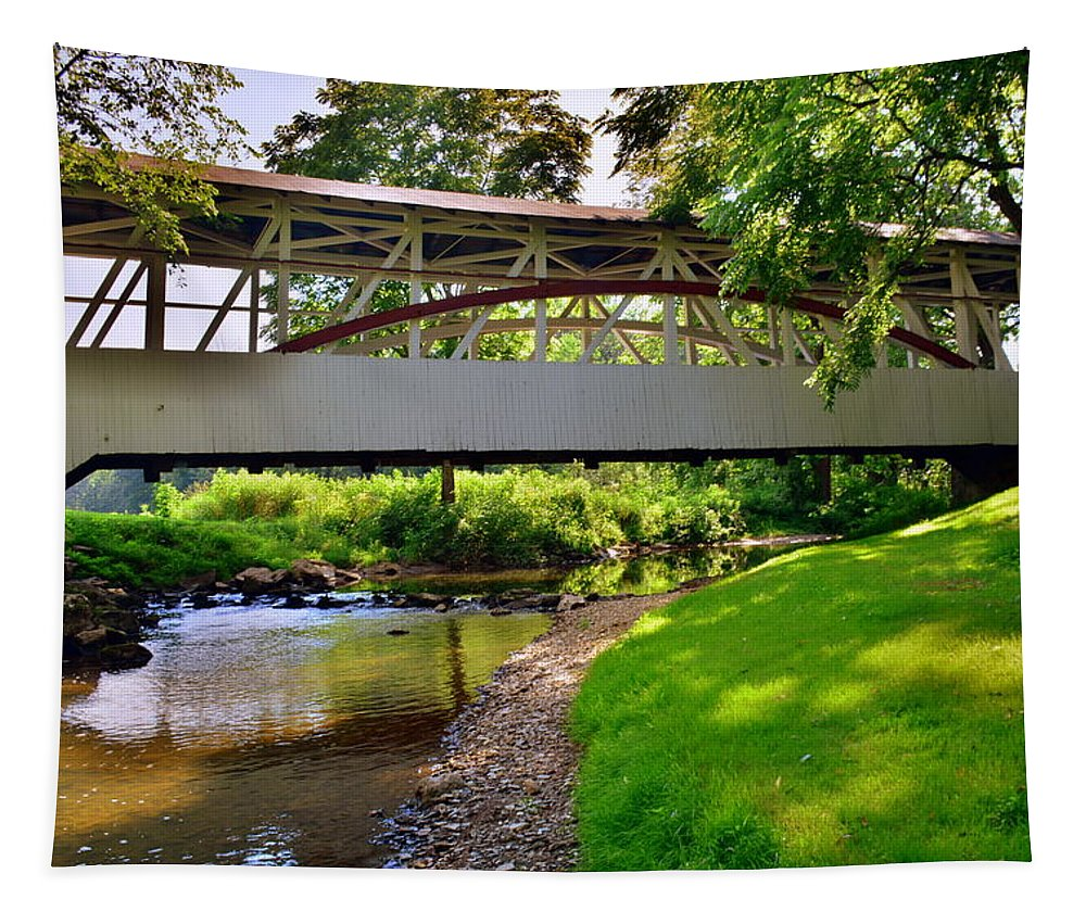 Dr. Knisley Covered Bridge #6 Tapestry featuring the photograph Knisley Covered Bridge #6 by Lisa Wooten