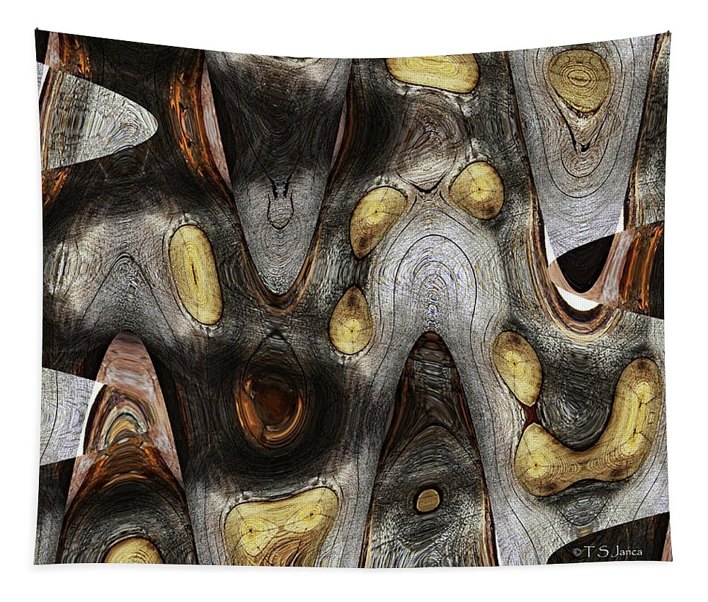 Knot In Old Board Abstract Tapestry featuring the digital art Knot In Old Board Abstract by Tom Janca