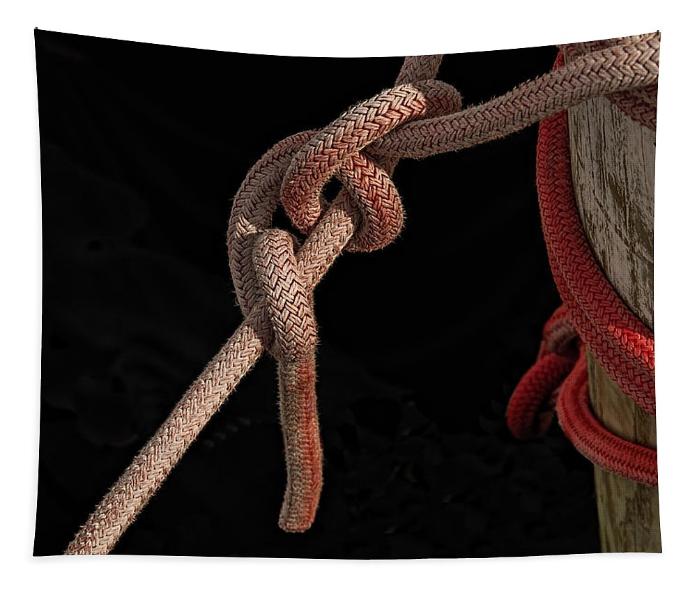 Rope Tapestry featuring the photograph Knot Me - Pink Mooring Ropes by Mitch Spence