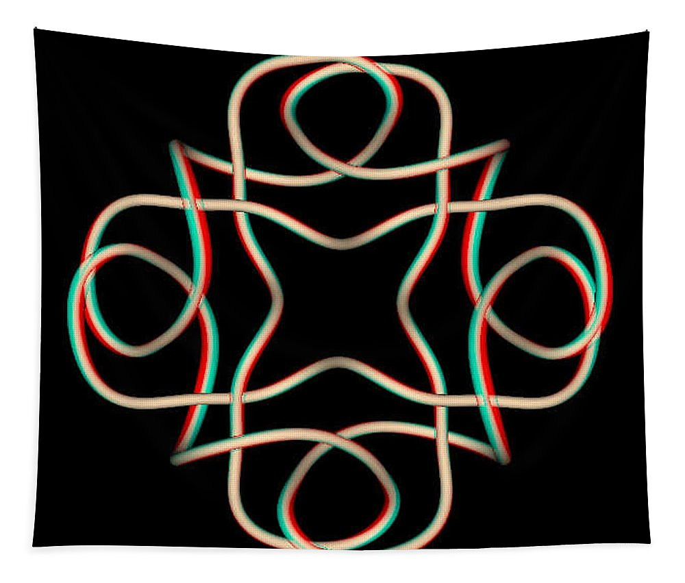 3d Tapestry featuring the photograph Knotplot 11 - Use Red-cyan 3d Glasses by Brian Wallace