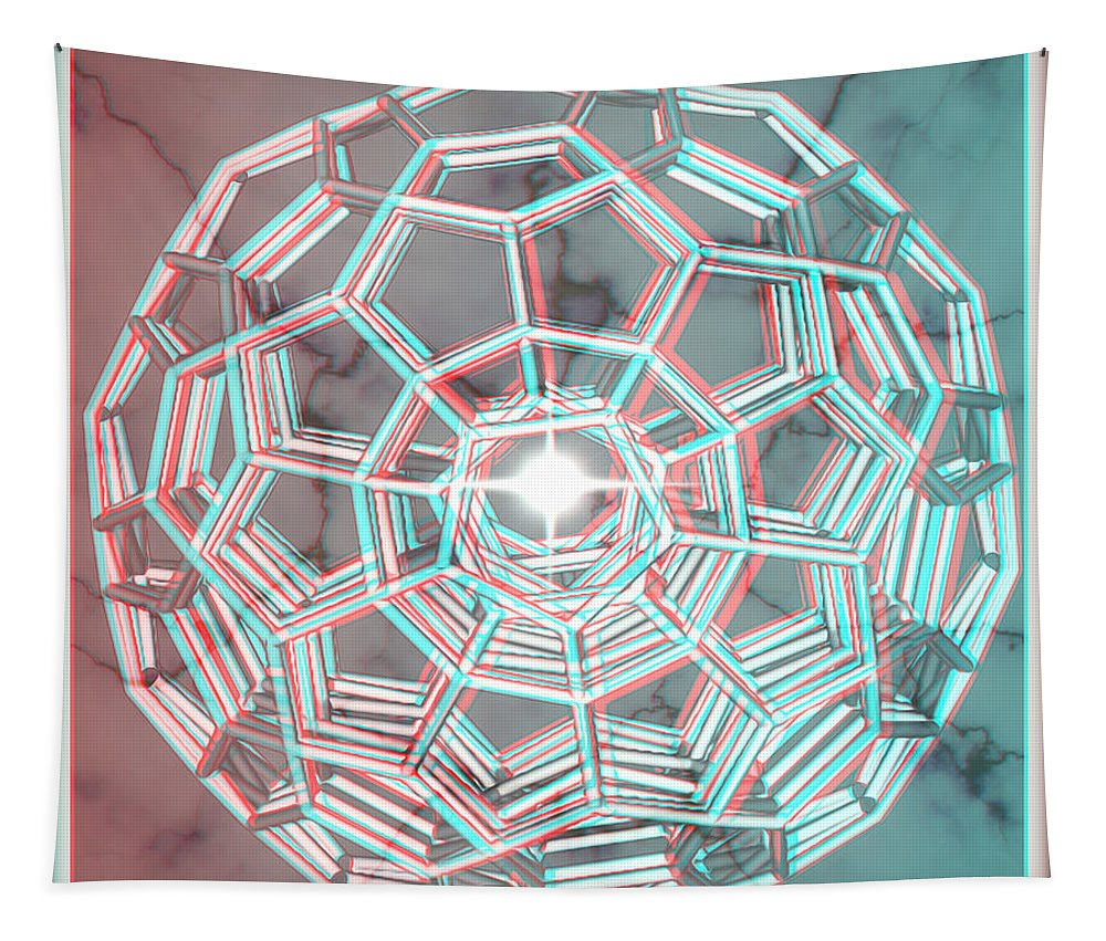 3d Tapestry featuring the digital art Knotplot 3 - Use Red-cyan 3d Glasses by Brian Wallace