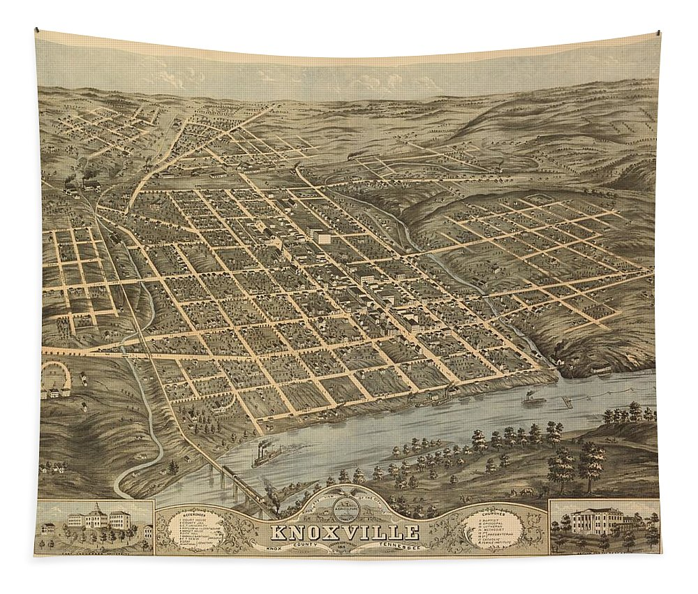 Map Tapestry featuring the mixed media Knoxville Tennessee 1871 by Mountain Dreams