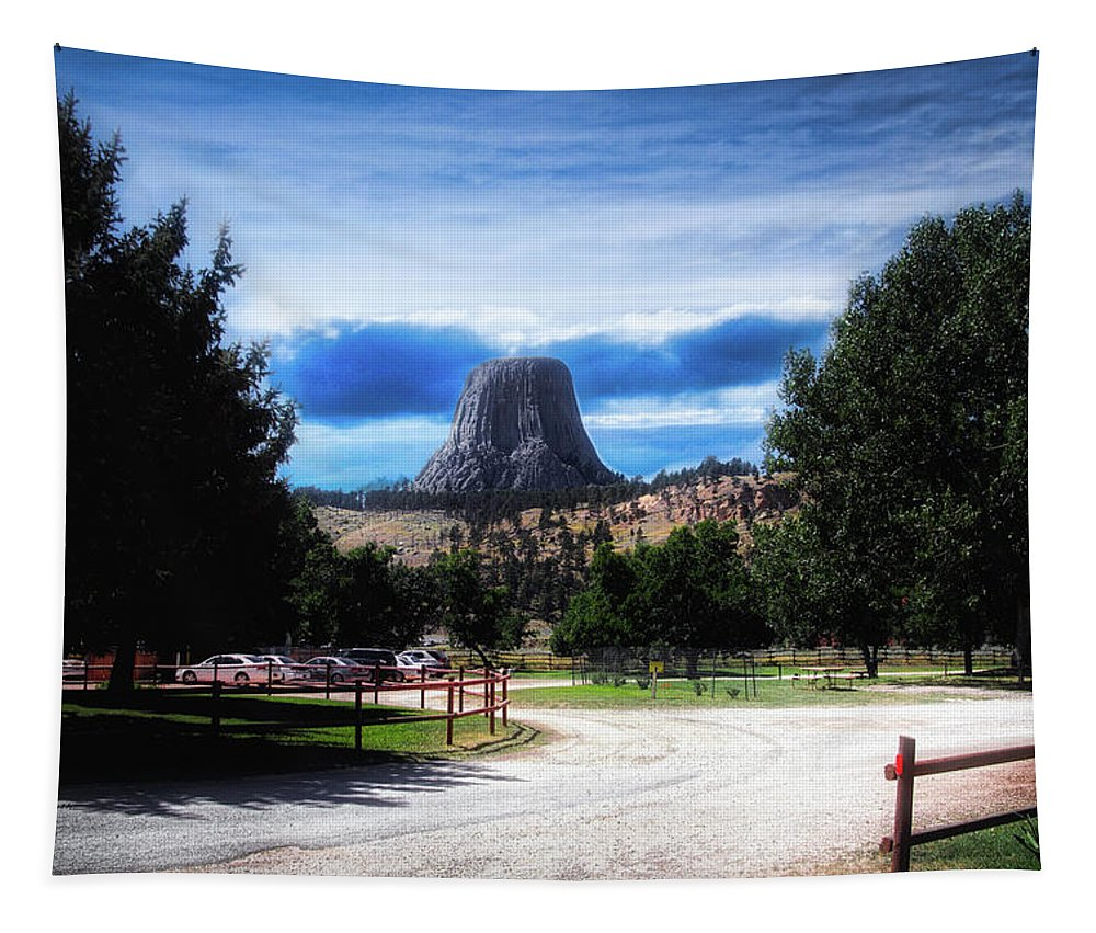 National Monument Tapestry featuring the photograph Koa Devils Tower Wyoming by Thomas Woolworth