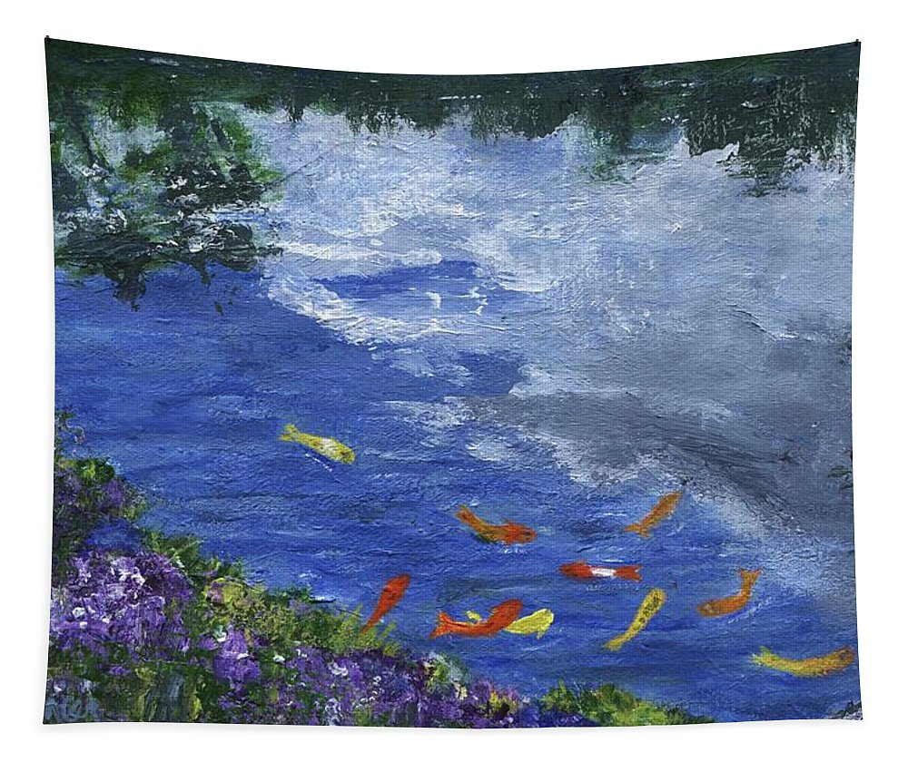 Fish Tapestry featuring the painting Koi by Jamie Frier