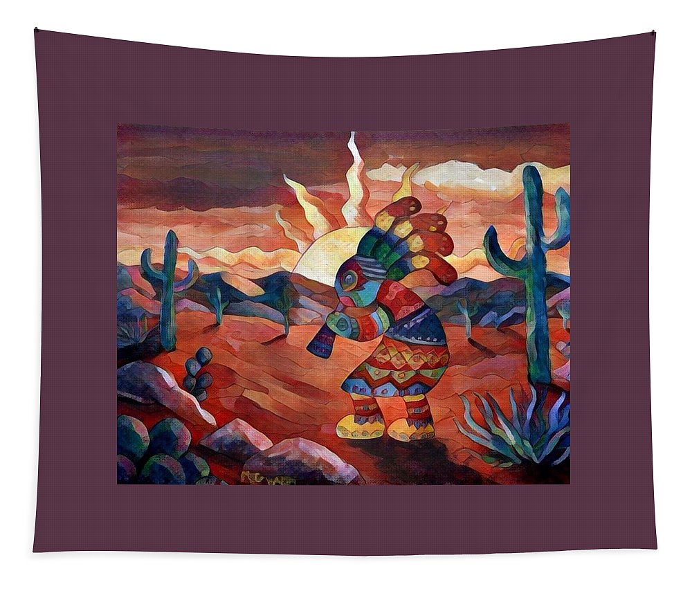 Kokopelli Tapestry featuring the painting Kokopelli A by Megan Walsh