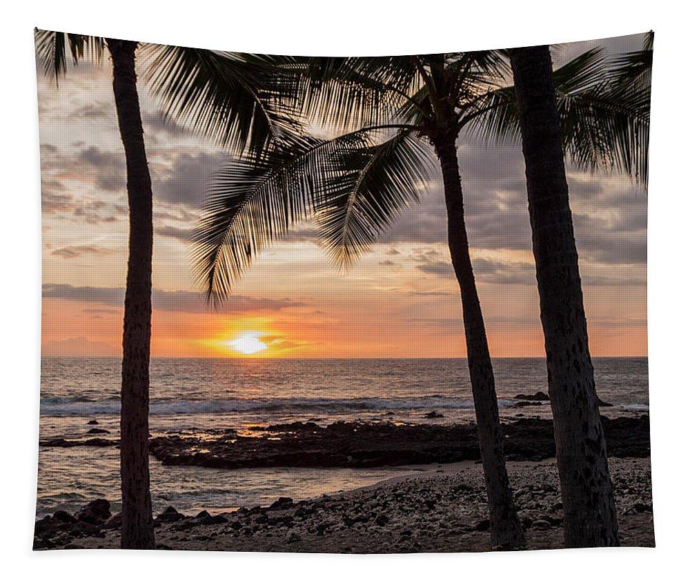 Kona Big Island Hawaii Beach Ocean Sunset Tapestry featuring the photograph Kona Sunset by Brian Harig