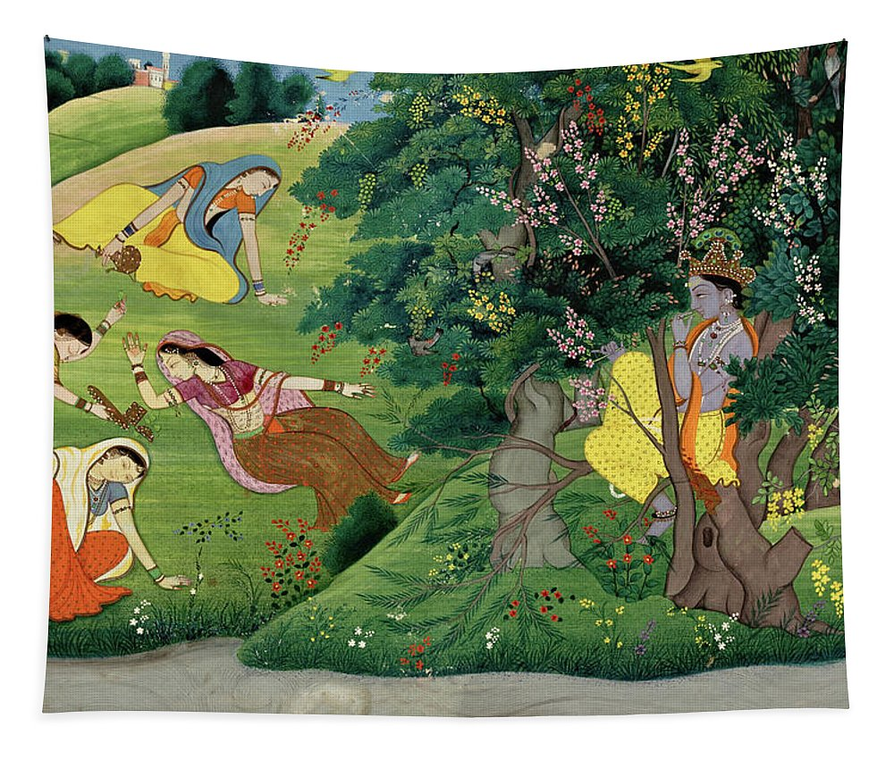 Painting Tapestry featuring the painting Krishna Fluting The The Milkmaids by Unknown Artist