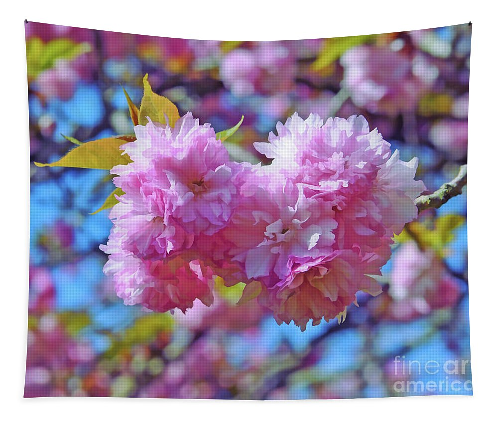 Kwanzan Cherry Blossoms Tapestry featuring the photograph Kwanzan Cherry Blossoms by Kerri Farley