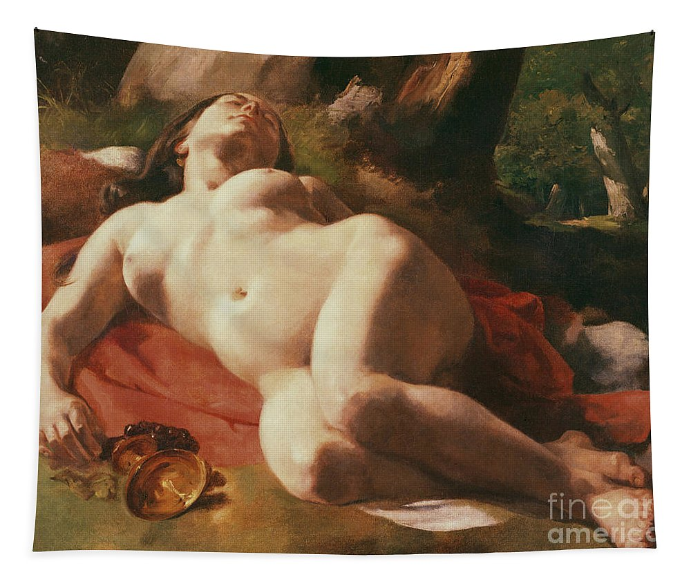 La Bacchante Tapestry featuring the painting La Bacchante by Gustave Courbet