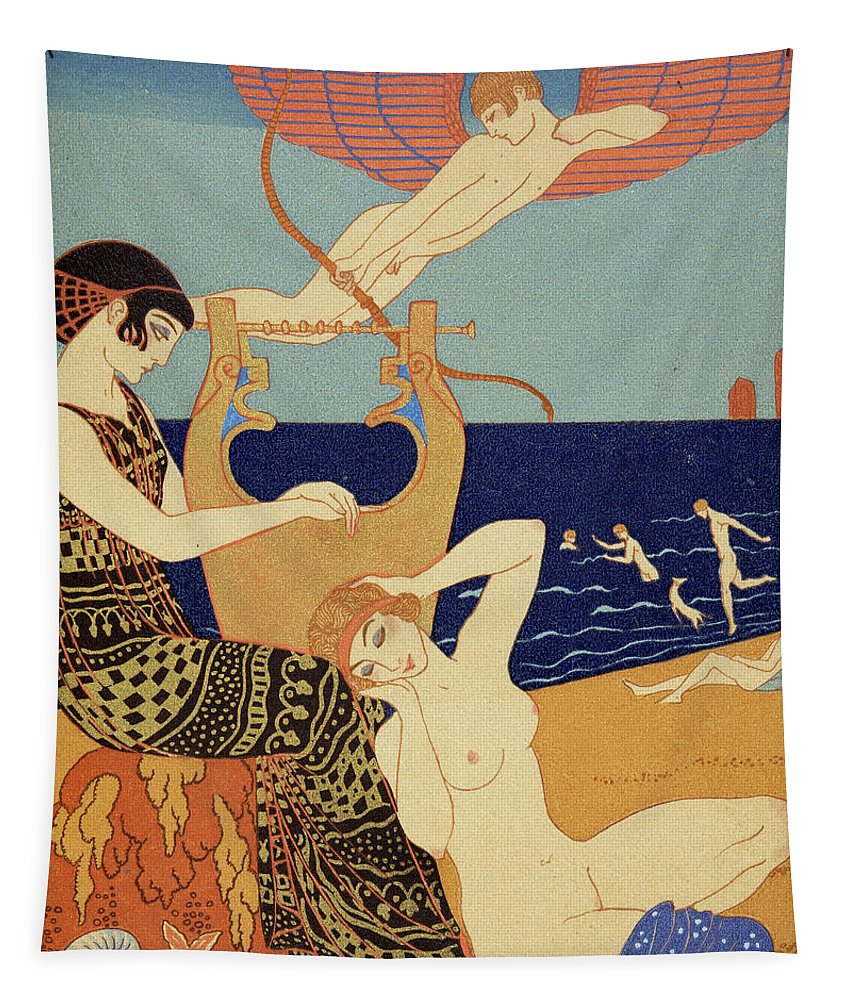 Angel Tapestry featuring the painting La Bague Symbolique by Georges Barbier