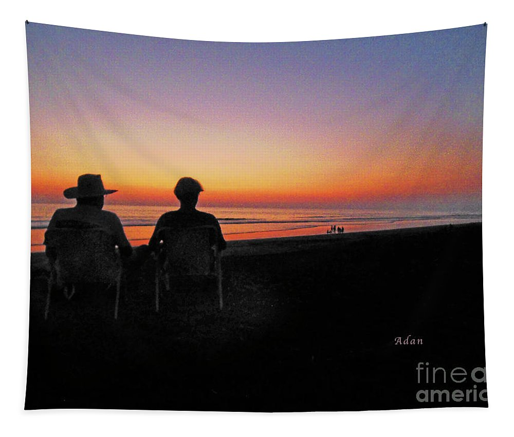 Sunset Tapestry featuring the photograph la Casita Playa Hermosa Puntarenas Costa Rica - Sunset Happy Couple by Felipe Adan Lerma