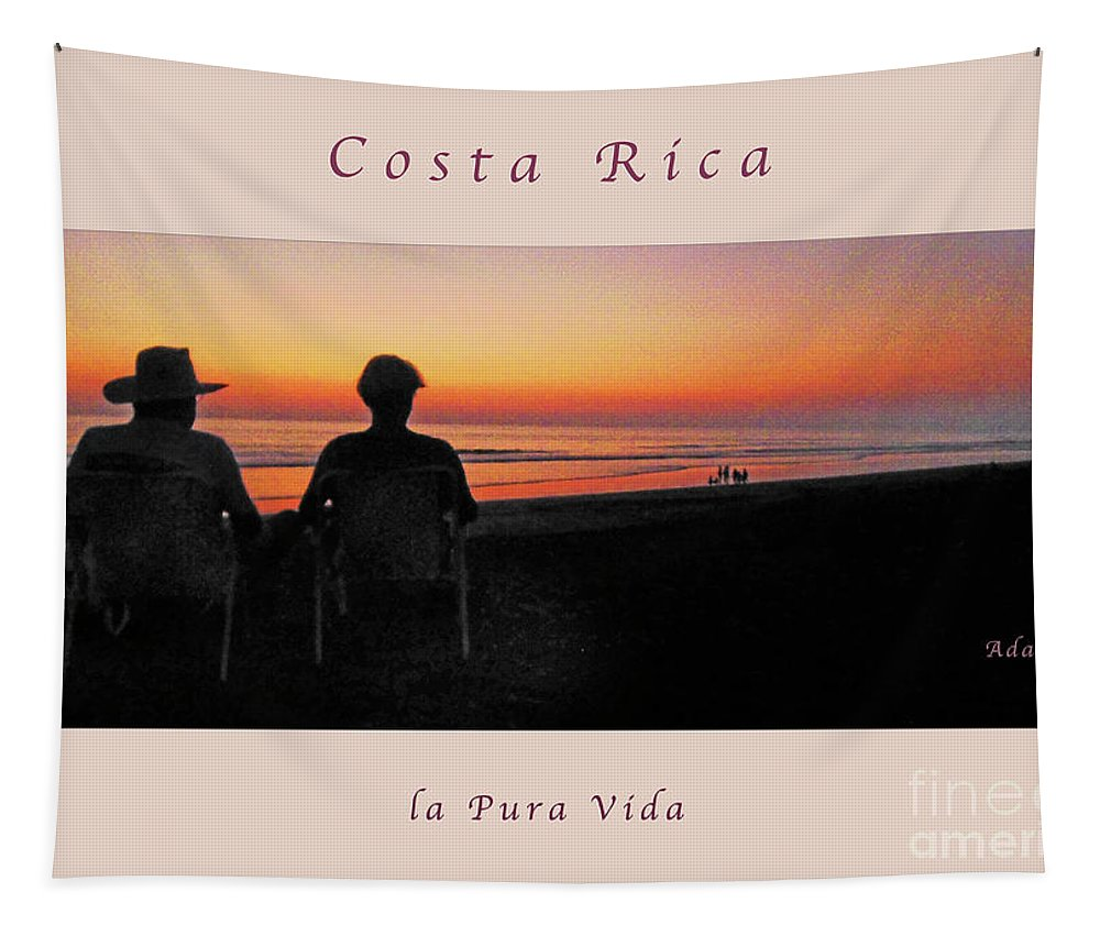 Sunset Tapestry featuring the photograph la Casita Playa Hermosa Puntarenas Costa Rica - Sunset Happy Couple Panorama Greeting Card Soft by Felipe Adan Lerma