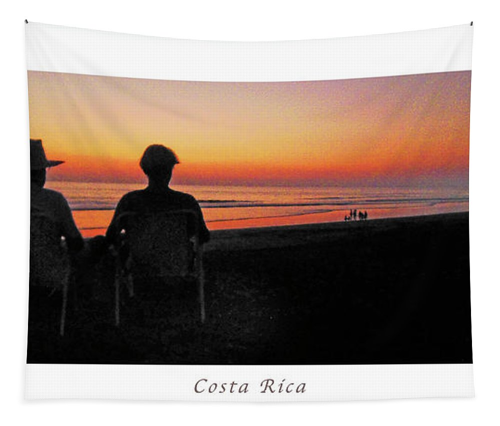 Sunset Tapestry featuring the photograph la Casita Playa Hermosa Puntarenas Costa Rica - Sunset Happy Couple Panorama Poster by Felipe Adan Lerma