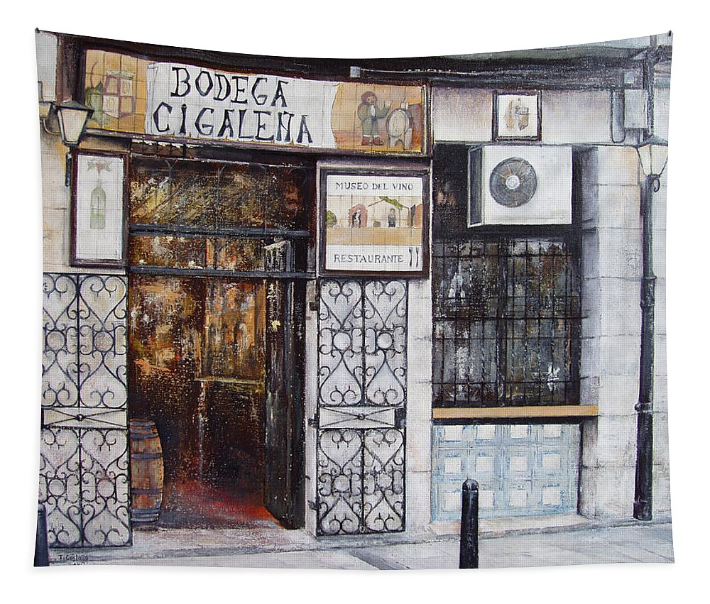 Bodega Tapestry featuring the painting La Cigalena Old Restaurant by Tomas Castano
