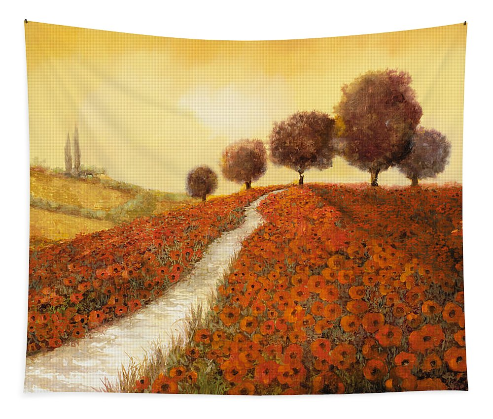 Tuscany Tapestry featuring the painting La Collina Dei Papaveri by Guido Borelli