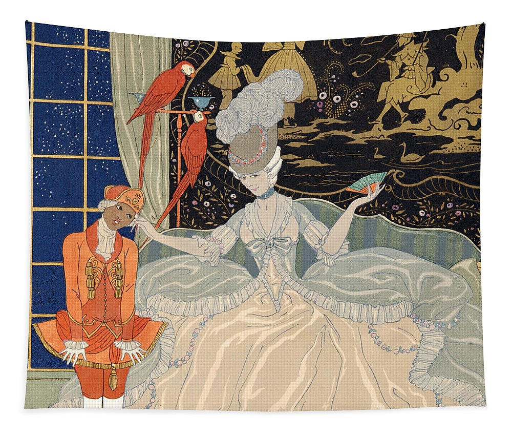 Barbier Tapestry featuring the painting La Comtesse From Personages De Comedie by Georges Barbier