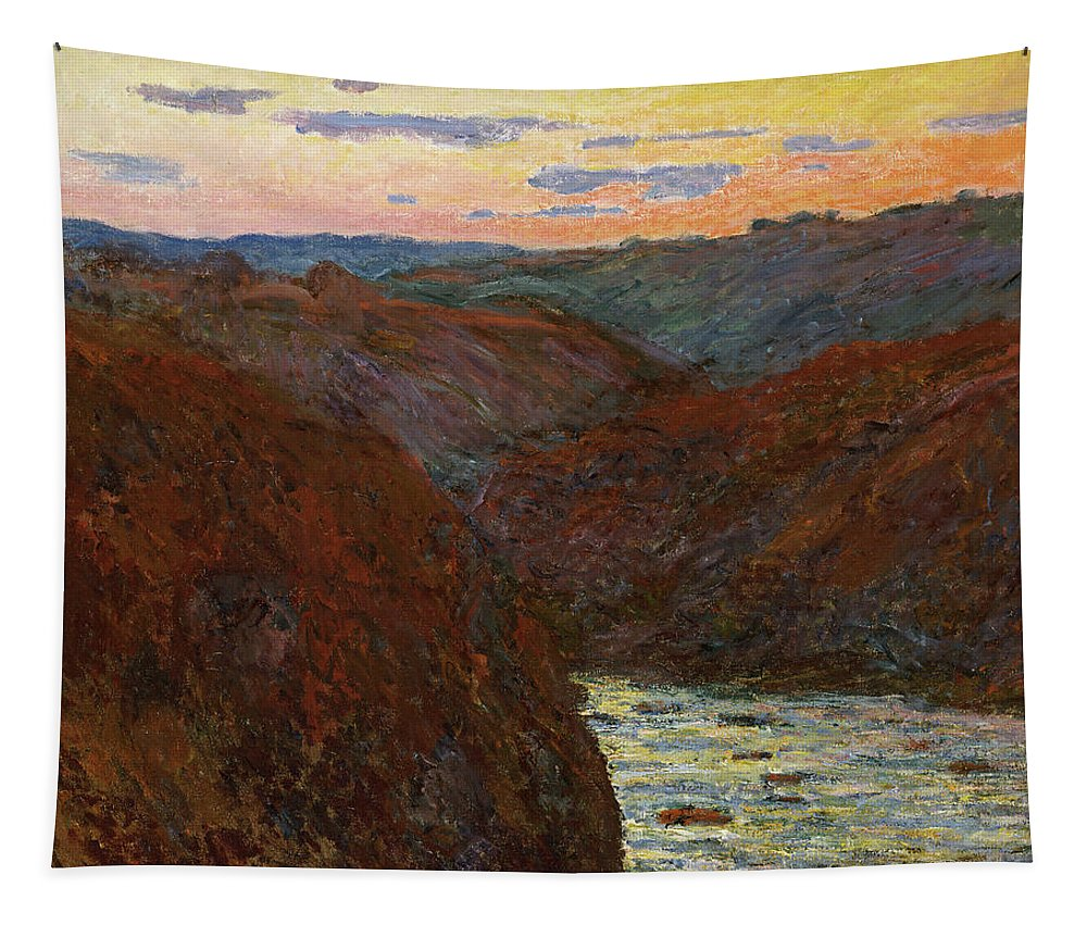 Monet Tapestry featuring the painting La Creuse, Sunset by Claude Monet