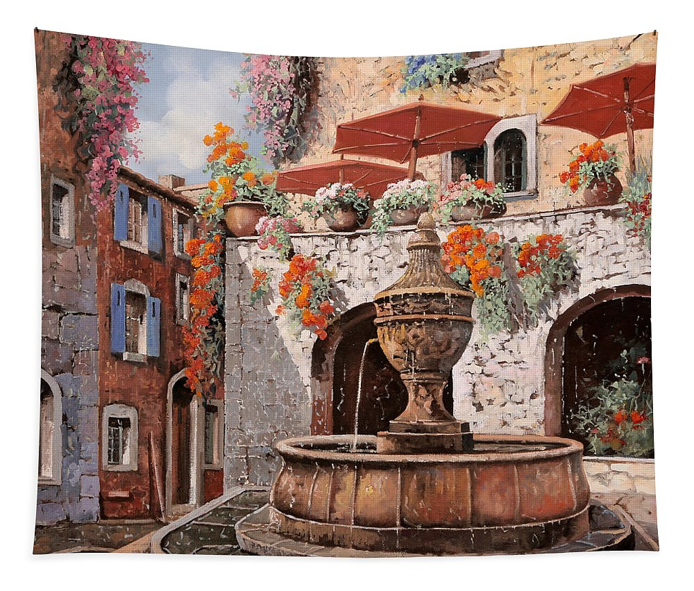 St Paul Tapestry featuring the painting la fontana a St Paul de Vence by Guido Borelli