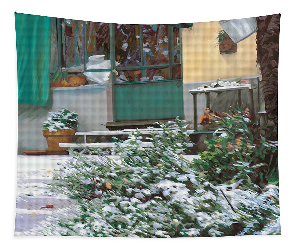 Snow Tapestry featuring the painting La Neve A Casa by Guido Borelli