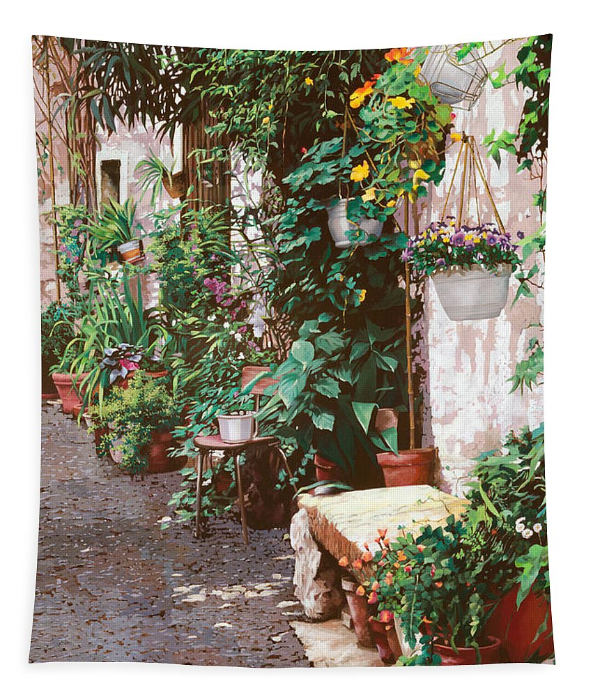 Street Scens Tapestry featuring the painting La Panca Di Pietra by Guido Borelli