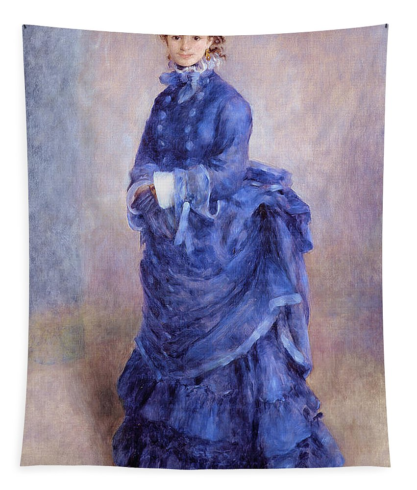 Female; Portrait; Impressionist; Full Length; Bonnet; Hat; Purple Dress; Bustle; Parisian; French; Dame; Bleu Tapestry featuring the painting La Parisienne The Blue Lady by Pierre Auguste Renoir