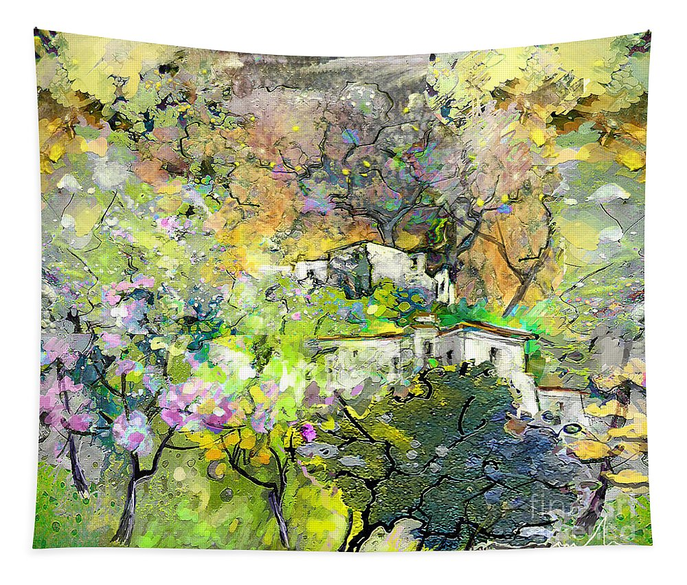 Landscape Painting Tapestry featuring the painting La Provence 07 by Miki De Goodaboom