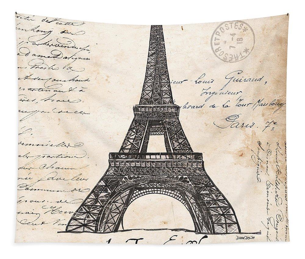 Eiffel Tower Tapestry featuring the painting La Tour Eiffel by Debbie DeWitt