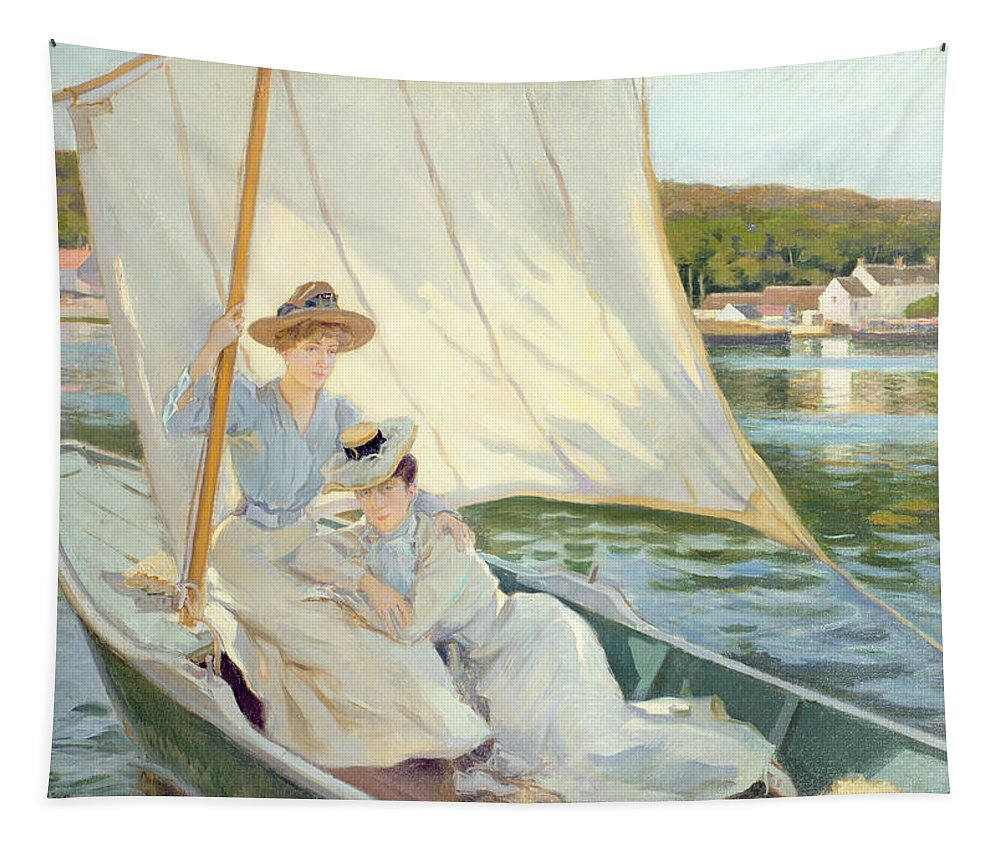 Ladies Tapestry featuring the painting Ladies In A Sailing Boat by Jules Cayron